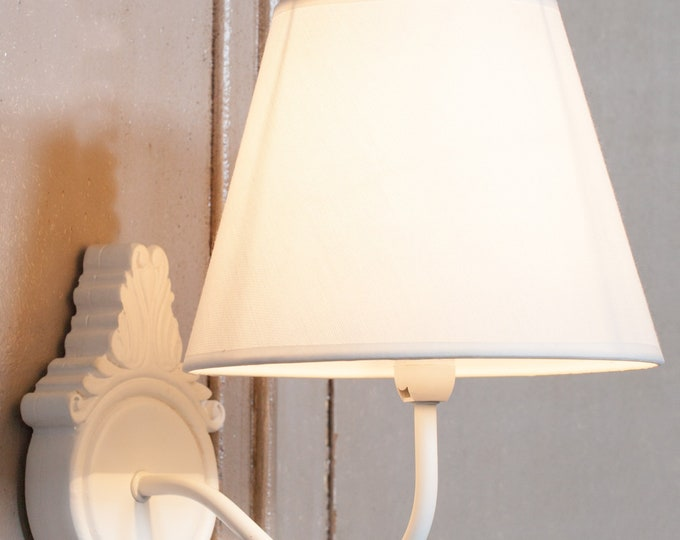 French Chateau Style White Wooden Wall Light with Shade