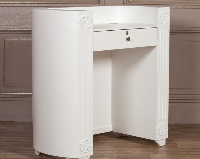 White painted Hardwood Reception Desk with Lockable Drawer
