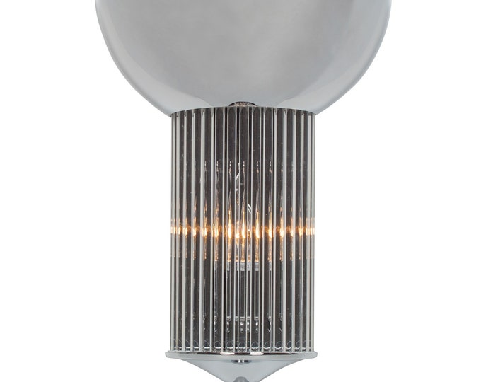 Chrome Art Deco Style Wall Light with Uplighter