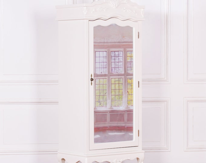 Antique French Style Cream Full Mirror Single Door Armoire Wardrobe with Finials & Moldings