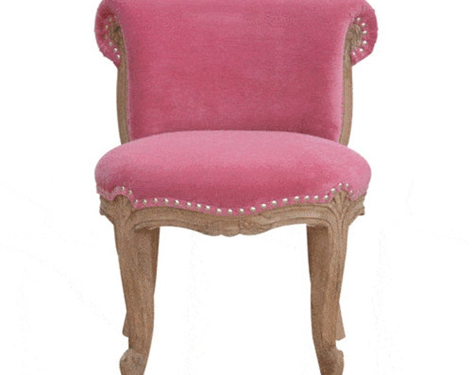 Classic French Style Pink Velvet Studded Upholstered  Chair