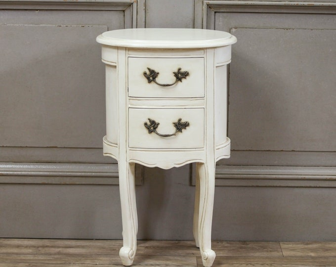 Shabby Chic French Chateau Style Aged Ivory Painted Mahogany Oval Bedside Table