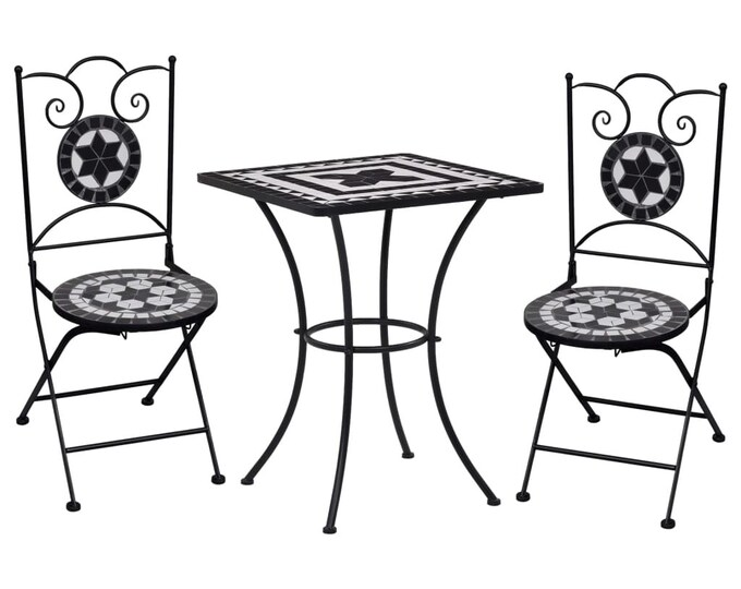 Vintage style 3 Piece Mosaic Bistro Set Ceramic Tile Black and White