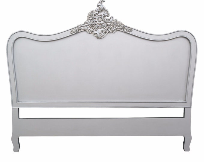 French Ornate Chateau Style Kingsize Silver Painted Headboard