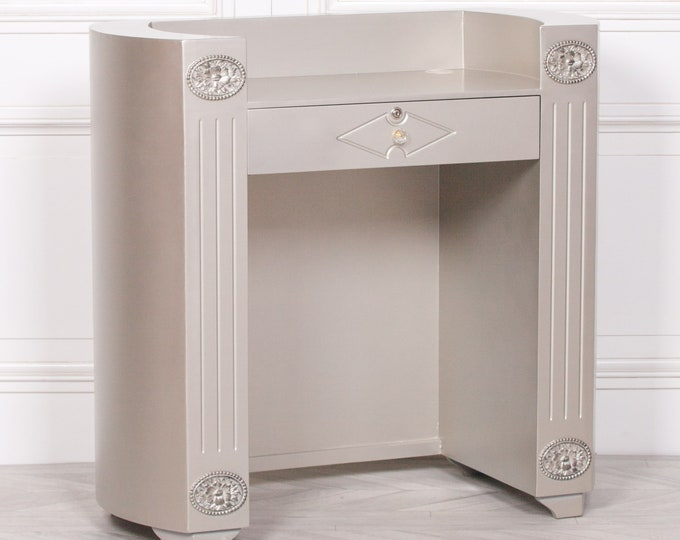 Silver painted Hardwood Reception Desk with Lockable Drawer