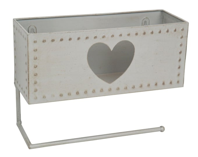 Shabby Chic Vintage Style Grey Metal Heart Toilet Roll Holder with Basket