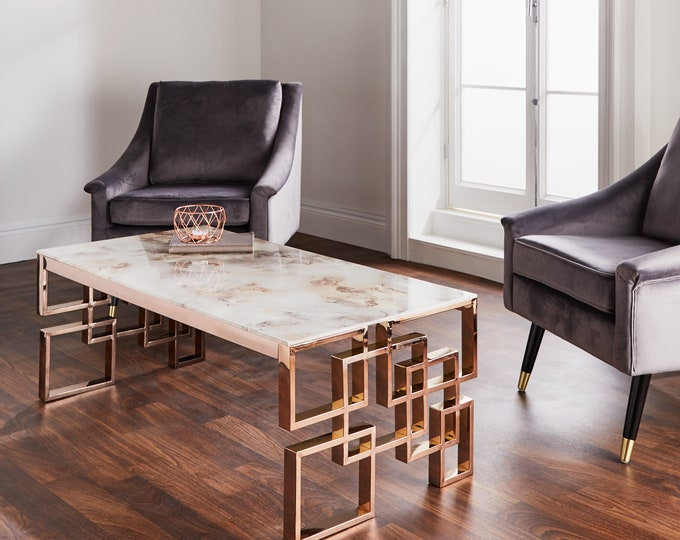 Beautiful Stainless Steel Rose Gold Coffee Table with Marble Glass Top