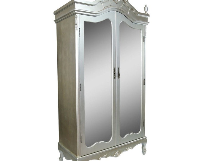 Antique French Style Silver Full Mirror Door Armoire Wardrobe with Finials & Moldings