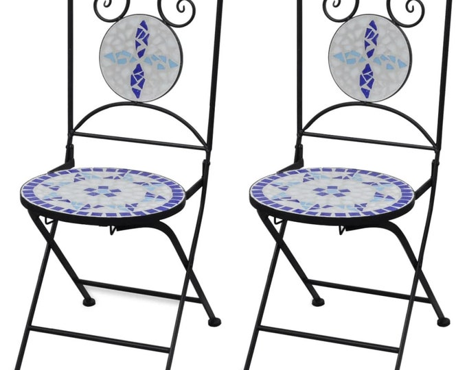 Vintage style Folding Bistro Chairs 2 pcs Ceramic Blue and White Mosaic