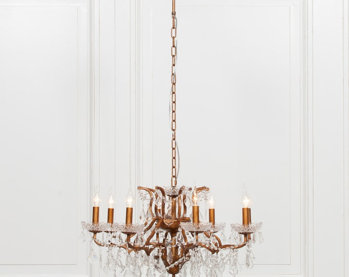Antique French Style Gold 8 Branch Chandelier