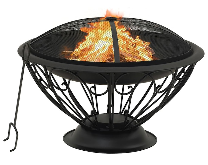 Fire Pit with Poker Dish Design 75 cm Steel