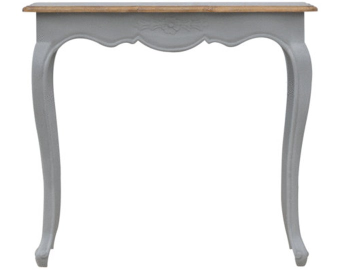 Solid Hard Wood Grey Painted Writing Desk with Central Drawer & Polished Top