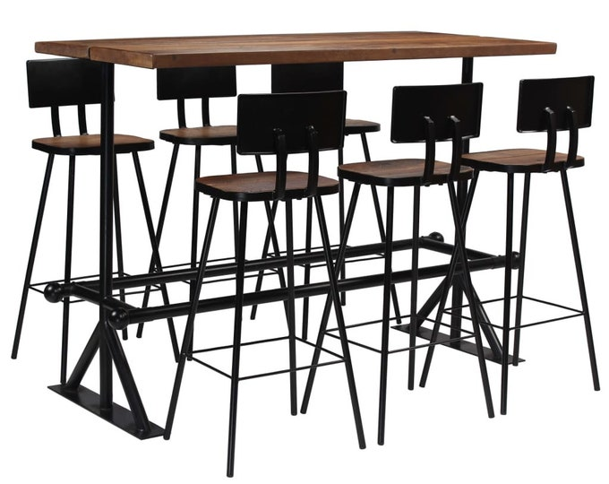 Industrial Style Bar Chairs & Table 7 Piece Set in Solid Reclaimed Wood