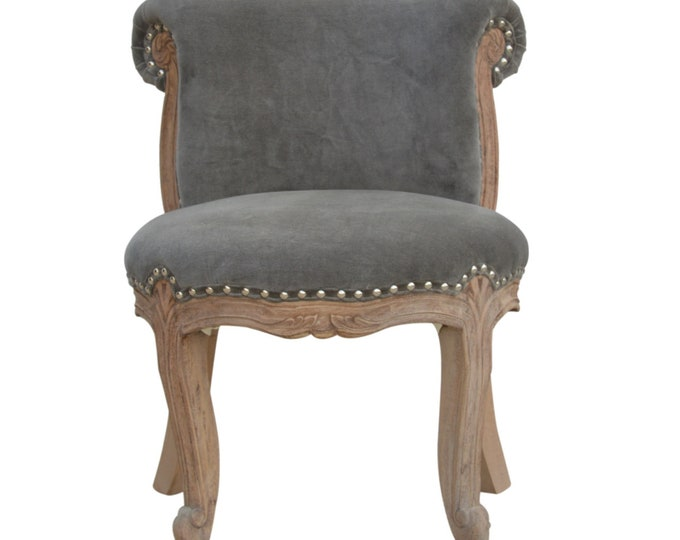 Classic French Style Grey Velvet Studded Upholstered  Chair