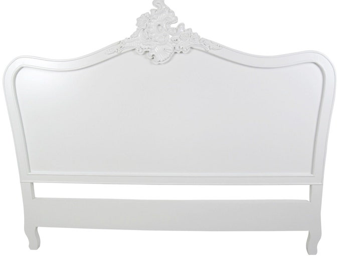 French Ornate Chateau Style Kingsize White Painted Headboard