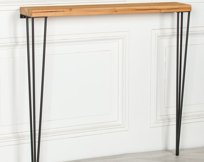 Rustic Wood & Metal Hairpin Tall Console Hall Table