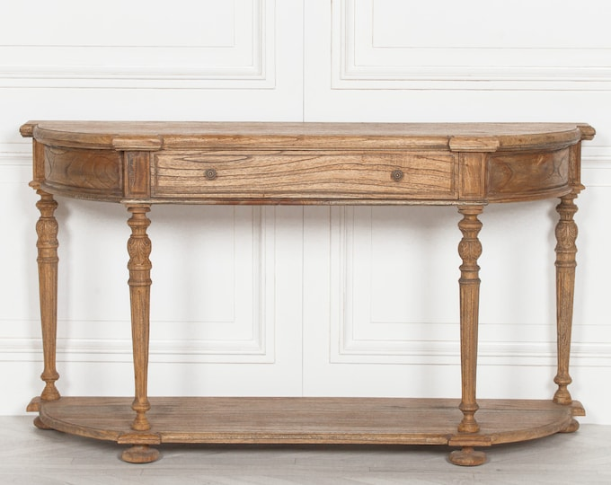 Rustic French Country Style White cedar wood console side Table with Drawer