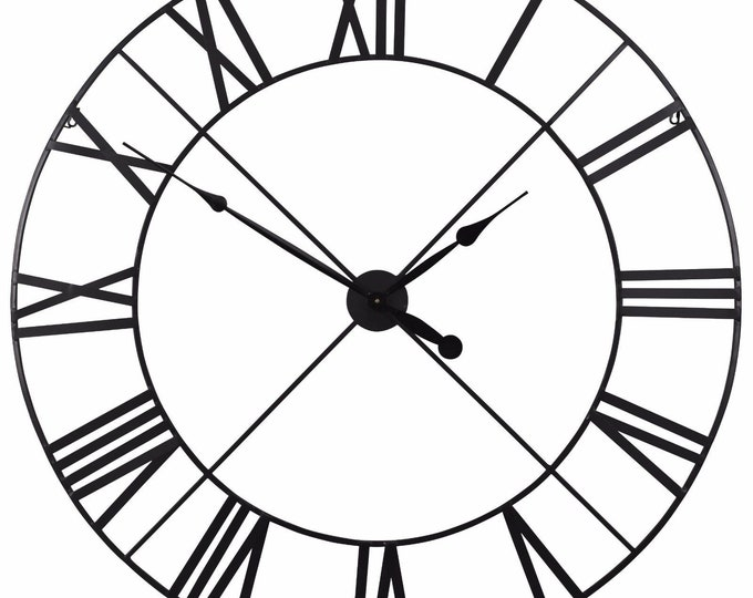 Rustic Extra Large 110 cm Black Metal Wall Clock