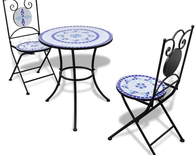 Vintage style 3 Piece Mosaic Bistro Set Ceramic Tile Blue and White - Round
