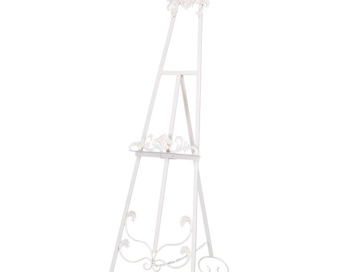 French Shabby Chic Style Antiqued Metal Easel  - Cream