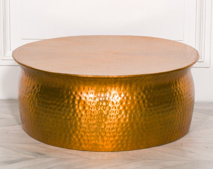 Arts & Crafts Style Round 80 cm diameter Hand made Coffee Table Gold/Brass Colour