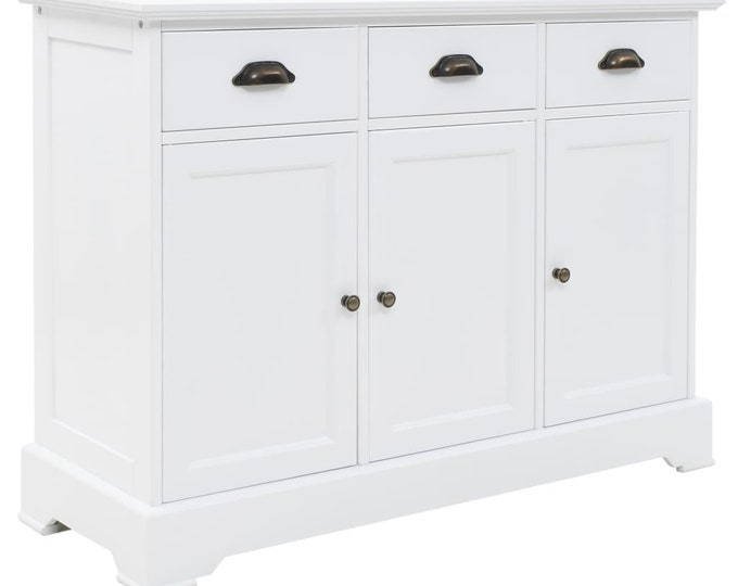 Shaker Style White 3 Door Sideboard in pinewood & MDF
