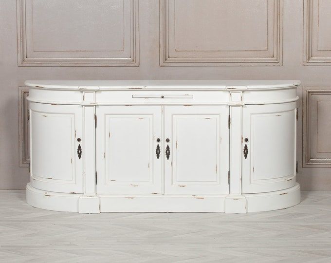 French Style Distressed White Painted Mahogany Sideboard