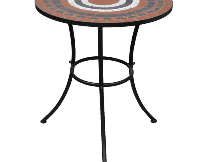 Vintage style Bistro Table Terracotta & White 60 cm Mosaic