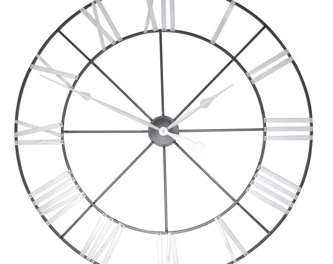 Large 102 cm Metal Wall Clock with Silver Coloured Numerals