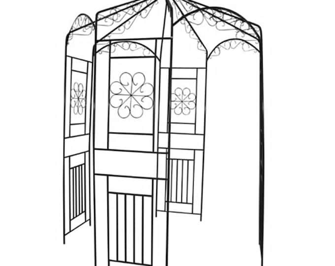 Vintage Style Rose Arch trellis Arbour in Wrought iron