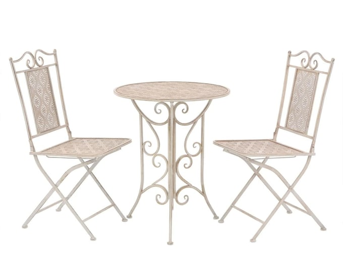 Vintage French style 3 Piece Bistro Set in Coated Steel - Antique White