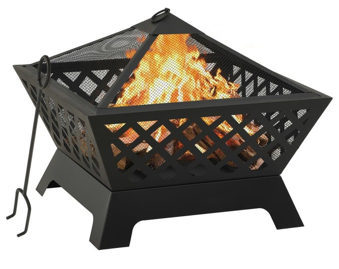 Square Lattice Effect Rustic Fire Pit with Poker 64 cm Steel