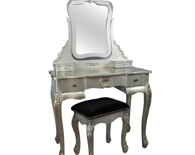 Shabby Chic French Style Silver Coloured Dressing Table with Mirror & Stool