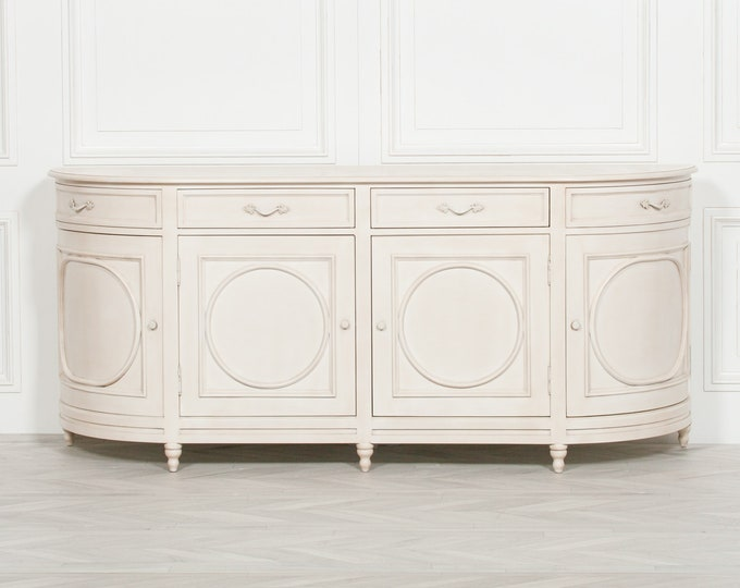 French Style aged Ivory Painted 4 Door Mahogany Sideboard