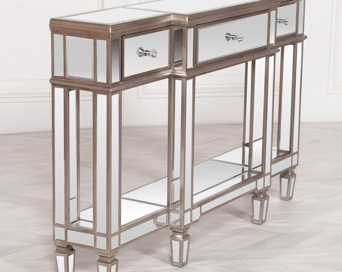 Venetian Style Champagne Silver Mirrored 3 Drawer Console side Table