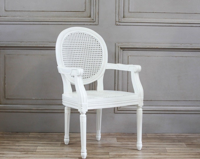 French Chateau Style White Rattan  Carver /Arm Dining Chair