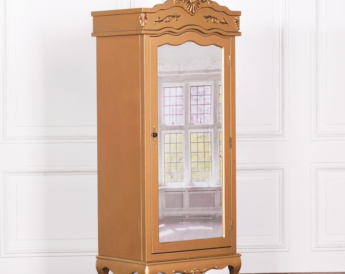 Antique French Style Gold Full Mirror Single Door Armoire Wardrobe with Finials & Moldings
