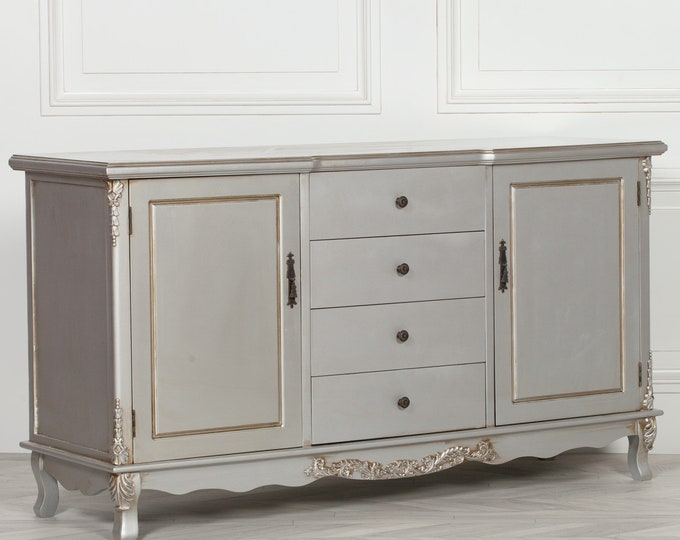 French Antique Style Silver Painted Sideboard