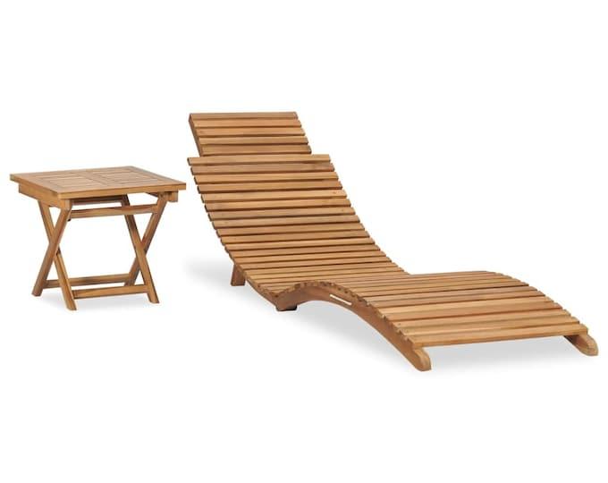 Folding Ergonomic Sun Lounger with Table Solid Teak Wood