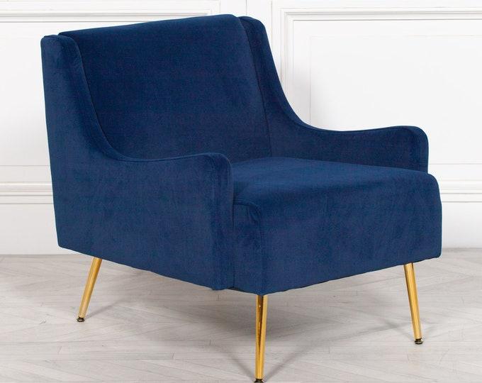 Large Art Deco Style Blue Velvet Upholstered Arm Chair
