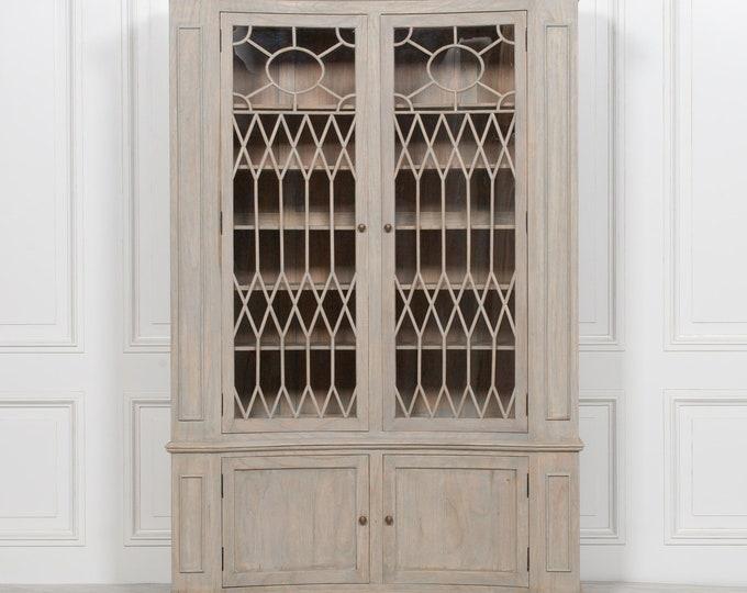 Stunning French Farmhouse Style Concave Glazed Cedar Wood CornerCabinet