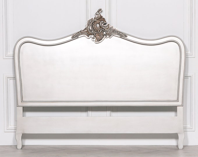 French Ornate Chateau Style Double Size Silver Painted Headboard