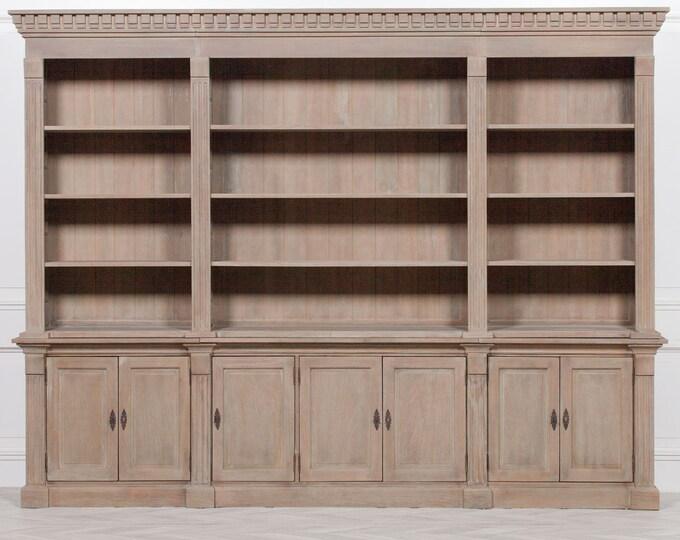 Stunning Farmhouse Style Distressed Mahogany Extra Large Bookcase Dresser Unit