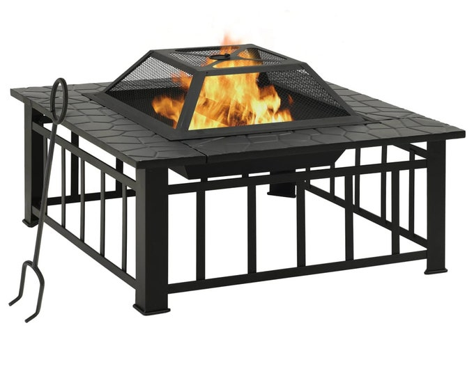 Large Square Garden Fire Pit with Poker 81x81x47 cm Steel