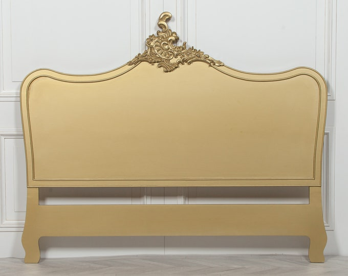 French Ornate Chateau Style King size Gold Painted Headboard