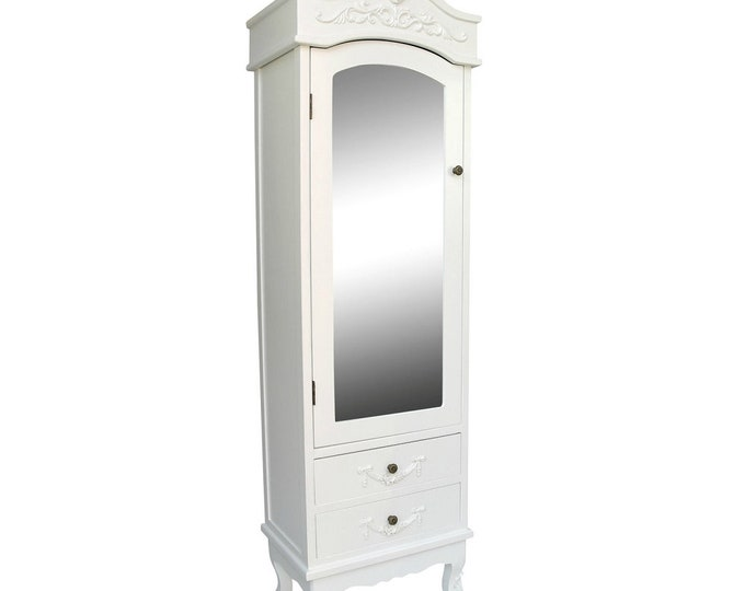 Shabby Chic Rococo Style French White single Half Mirror Door 2 Drawer Armoire