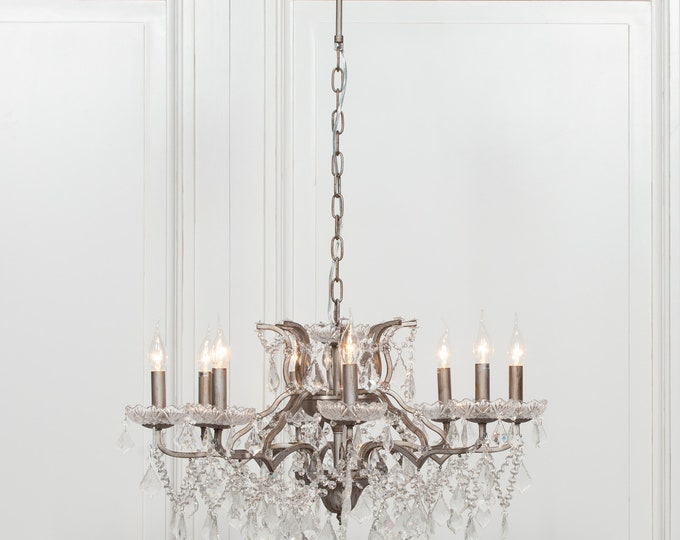 Antique French Style Silver 8 Branch Chandelier