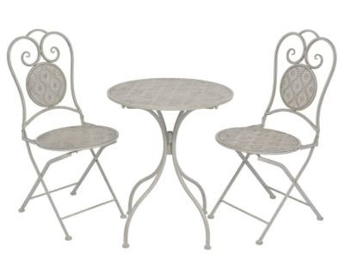 Vintage French style 3 Piece Bistro Set in Coated Steel - Grey