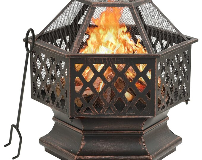 Large Rustic Fire Pit with Poker 62x54x56 cm Steel