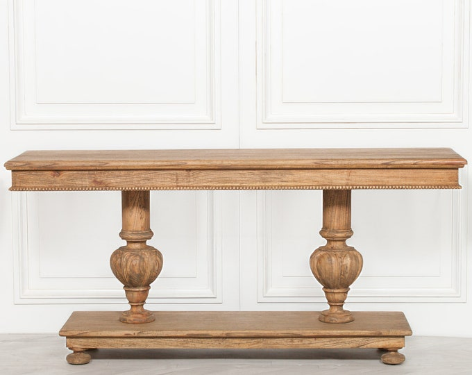 Rustic French Country Style White cedar wood console side Table with Shelf
